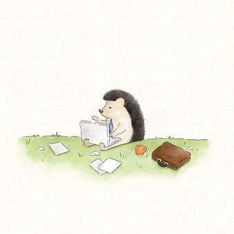Hérisson tapant sur un ordinateur portable