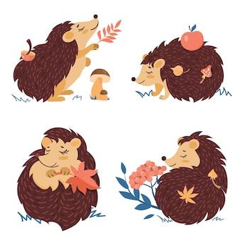 Hérissons dans différentes poses avec des feuilles d'automne et des champignons. un ensemble de personnages de dessins animés sur fond blanc.