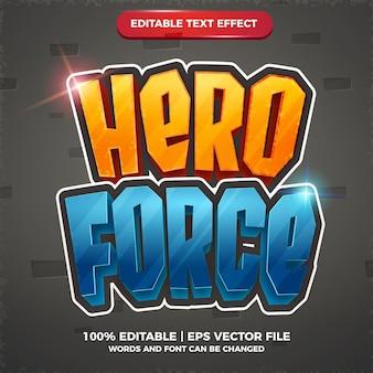Hero force effet de texte modifiable dessin animé jeu comique style de modèle 3d