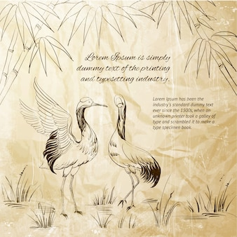 Héron et bambou
