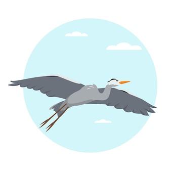 Héron cendré oiseau volant dans l'illustration du ciel