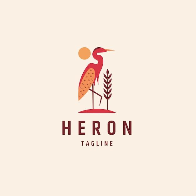 Héron ou cigogne logo icône modèle de conception vecteur plat