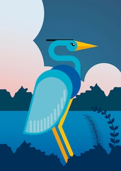 Héron sauvage oiseau animal caractère exotique dans la rivière