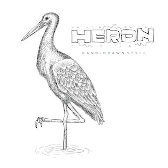 Héron de vecteur sur l'eau, illustration animale réaliste