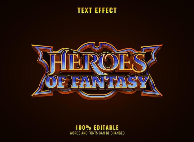 Héros de diamant d'or de fantaisie effet de texte de titre de logo de jeu rpg avec cadre