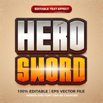 Héros épée effet de texte modifiable dessin animé jeu comique style de titre 3d