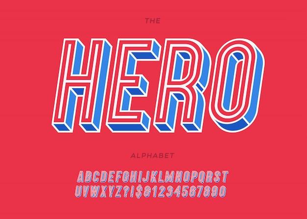 Héros incliné alphabet style coloré pour la décoration