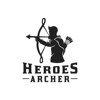 Héros mythe grec archer guerrier silhouette, hercule héraclès avec conception de logo arc longbow flèche