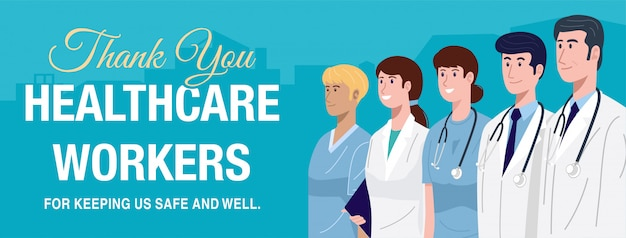 Héros de première ligne, illustration de personnages de médecins et d'infirmières.