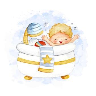L'heure du bain bébé garçon