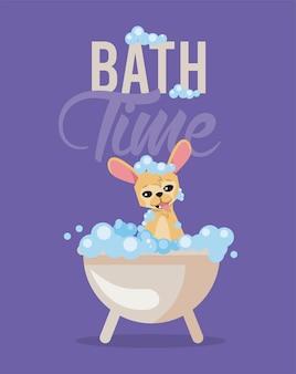L'heure du bain de la caricature de chien chihuahua
