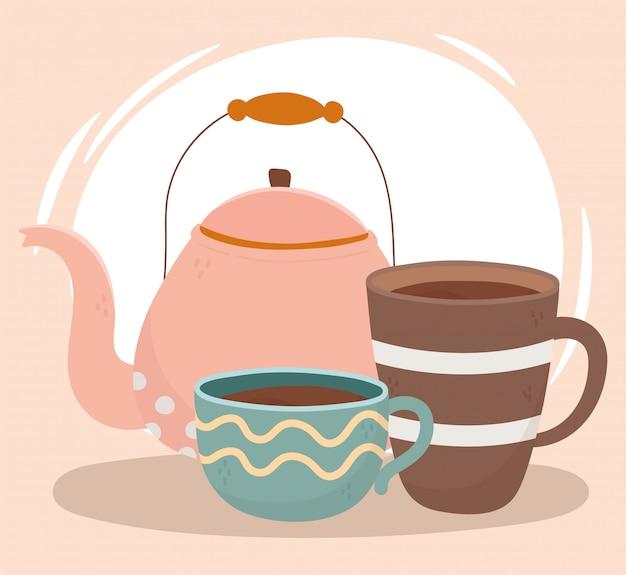 L'heure du café, une bouilloire et des tasses de boisson fraîche en porcelaine