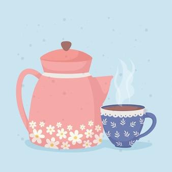 L'heure du café et une bouilloire à thé et une tasse chaude bleue