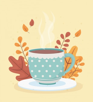 L'heure du café et du thé, tasse en pointillé sur plat avec fond de décoration