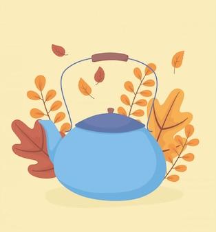 L'heure du café et du thé, théière bleue avec fond de feuilles