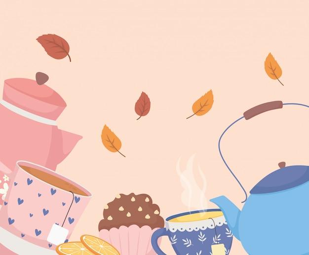 L'heure du café et du thé, théière tasse cupcake et décoration de feuilles