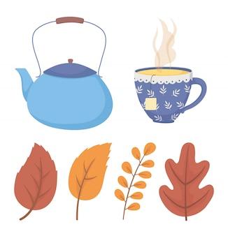 Heure du café et thé, théière bleue et tasse avec des icônes de feuilles