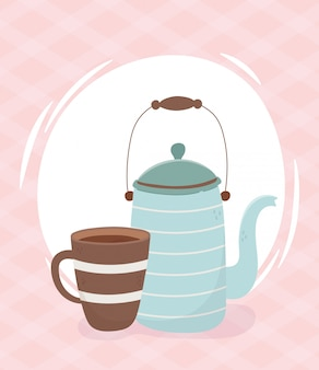 Heure du café, théière et tasse de café boisson fraîche