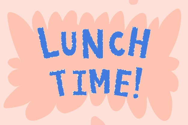 L'heure du déjeuner bleu ! typographie doodle sur fond rose