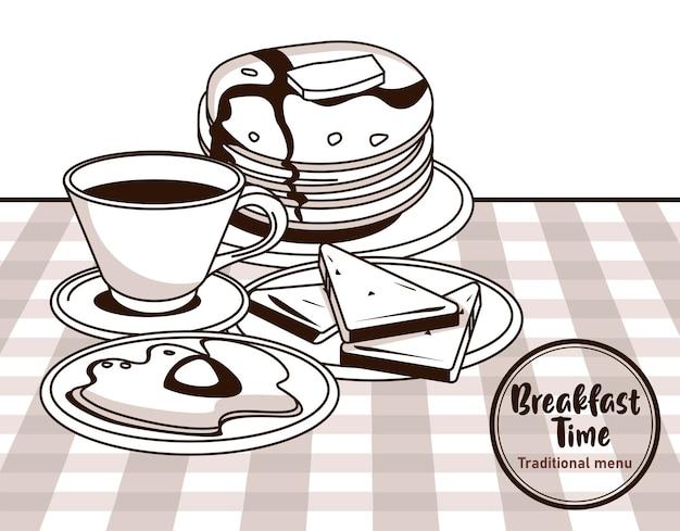 L'heure du petit déjeuner avec café et crêpes