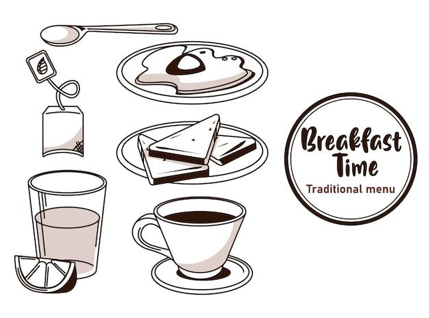 L'heure du petit-déjeuner avec des ingrédients groupés