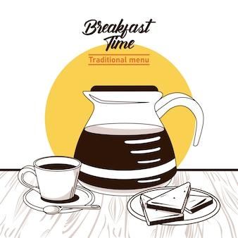 L'heure du petit déjeuner avec pot de café et tasse