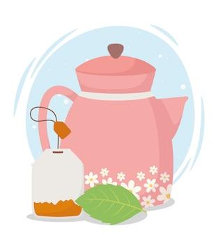 Heure du thé, bouilloire avec fleurs et boisson aux herbes en feuilles de sachet de thé