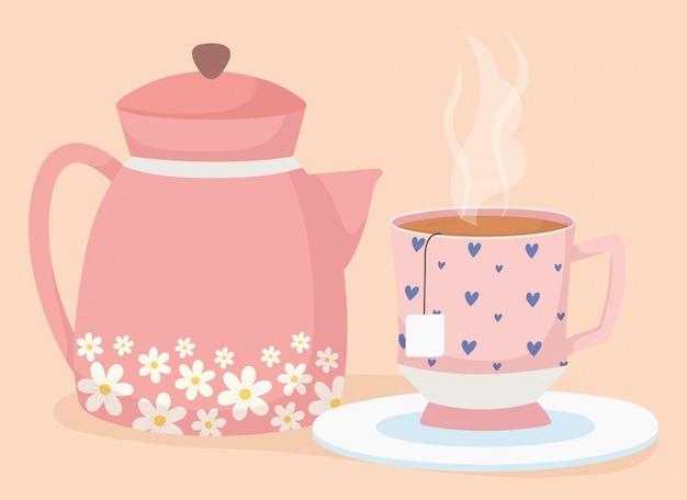L'heure du thé, décorative dans une tasse et une boisson fraîche