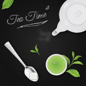 L'heure du thé sur fond noir