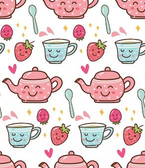 Heure du thé avec des fraises sur fond de style kawaii