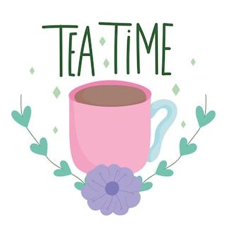 Heure du thé, tasse et feuilles de fleurs violettes, verres de cuisine en céramique, illustration de dessin animé de design floral