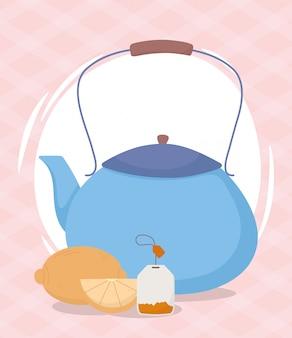 Heure du thé, théière entière et sachet de thé au demi-citron