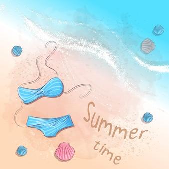 Heure d'été. accessoires de plage sur le sable. illustration vectorielle