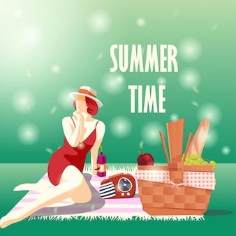 Heure d'été avec fille sur la nappe