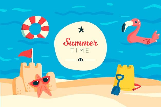 Heure d'été et fond de château de sable