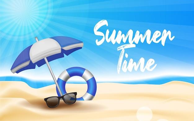 Heure d'été heureuse à la plage