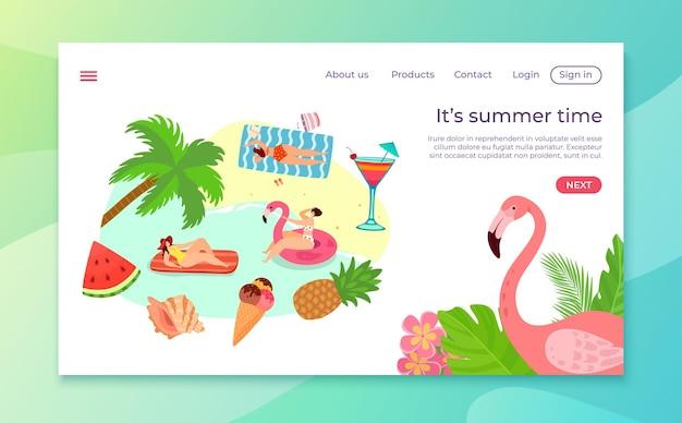 Heure d'été à l'illustration de la plage de dessin animé