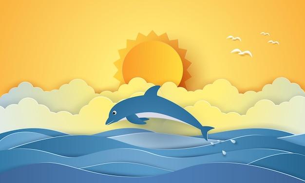 Heure d'été, mer avec dauphin et soleil, style art papier