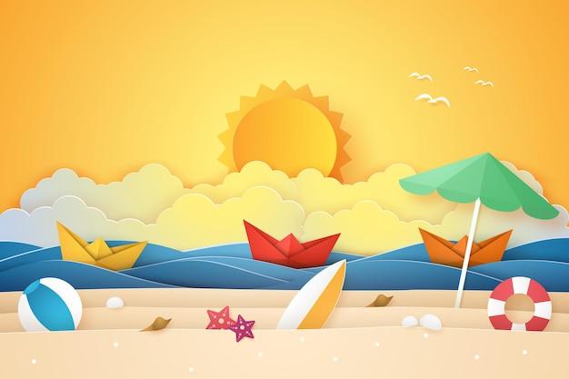 Heure d'été, mer et plage avec bateau et trucs, style art papier