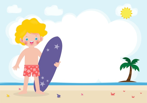 Heure d'été et surfeur mignon caractère enfants caucasiens avec planche de surf sur la plage heureux jeune surf, illustration isolée sur fond