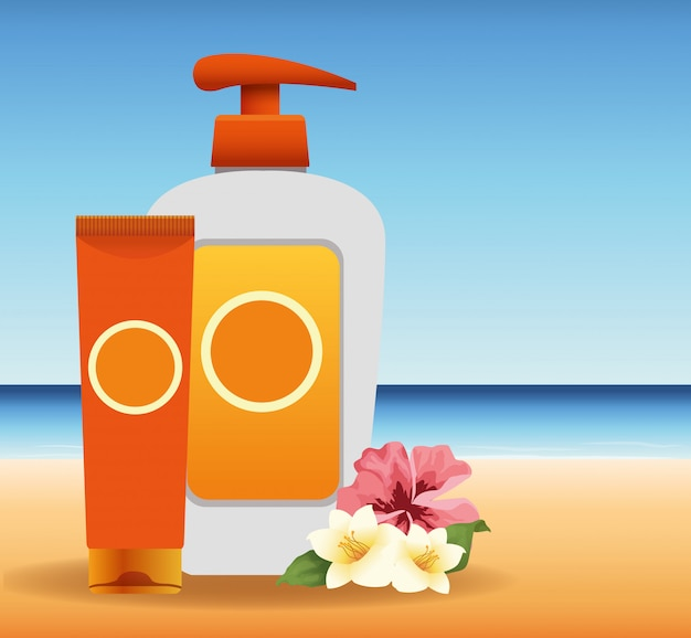 L'heure d'été en vacances à la plage bronzer et crème solaire pulvérisation fleurs sable mer
