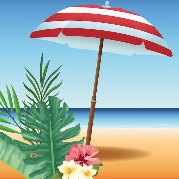 L'heure d'été en vacances à la plage parapluie fleurs feuilles de sable tropical