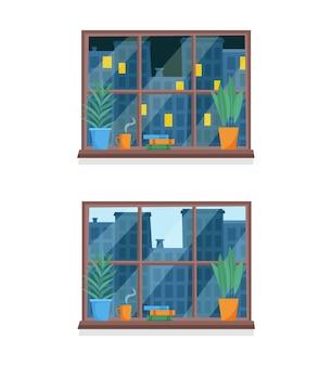 Heure de la journée depuis la fenêtre concept de jour et de nuit de la ville