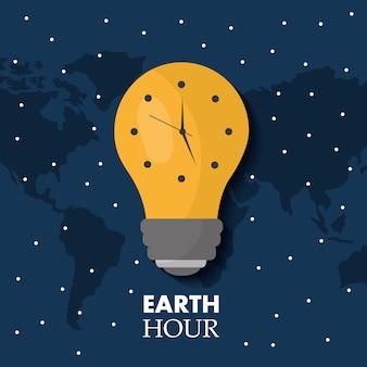 Heure de la terre ampoule lumière écologie horloge carte étoiles