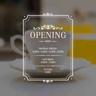 Heures d'ouverture des entreprises avec ornements