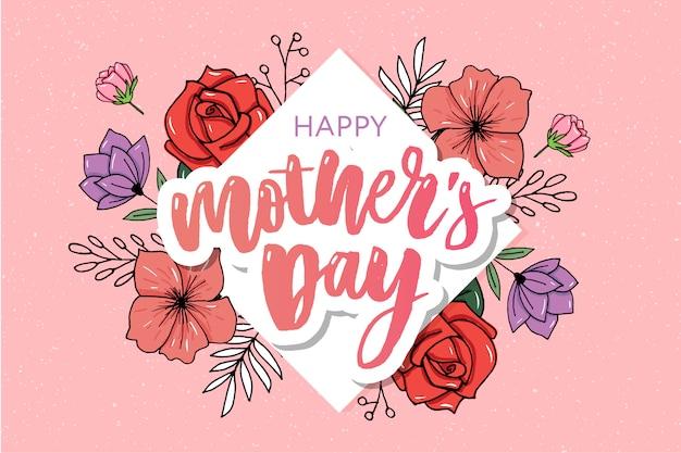 Heureuse bannière de typographie élégante fête des mères rose.