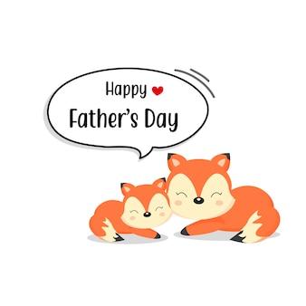 Heureuse carte de fête des pères avec des personnages mignons de la fox.