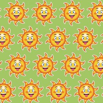 Heureuse drôle de langue de soleil, dessin animé de papier peint