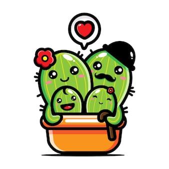 Heureuse famille de cactus mignon
