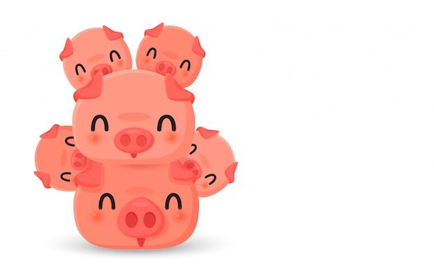 Heureuse famille de cochons mignons